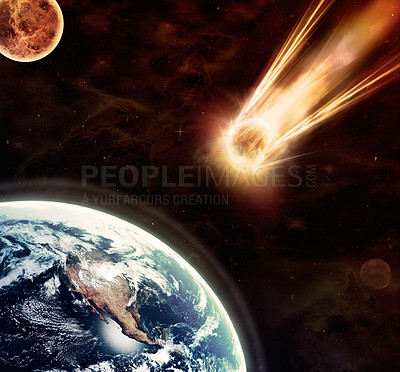 Buy stock photo Chilling image of a meteor moments before impact with earth
