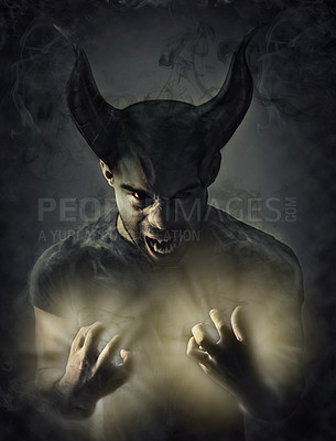 Buy stock photo Computer manipulated shot of a demon