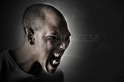 Buy stock photo Computer manipulated shot of a man turning into a monster