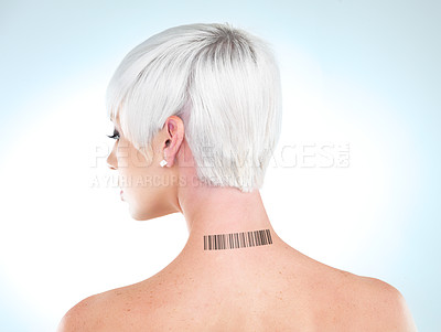 Buy stock photo A young woman with a barcode on her neck