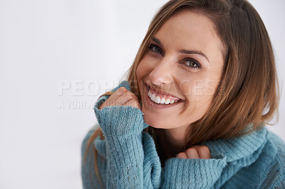 Buy stock photo Portrait of young woman wearing winter clothing
