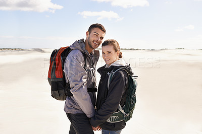 Buy stock photo Portrait of a happy couple out on a hike together