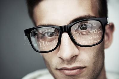 Buy stock photo Cropped portrait of a young guy with mathem