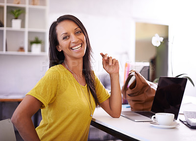 Buy stock photo An attractive young businesswoman smiling confidently at the camera