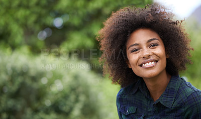 Buy stock photo Portrait of a smiling young woman outside in a garden