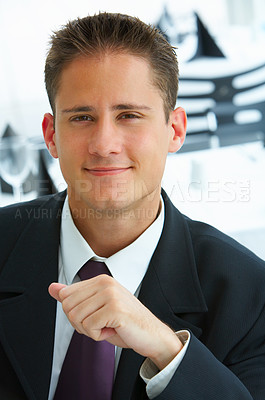 Buy stock photo Closeup portrait of a young businessman