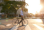 Getting around the city on his two wheels