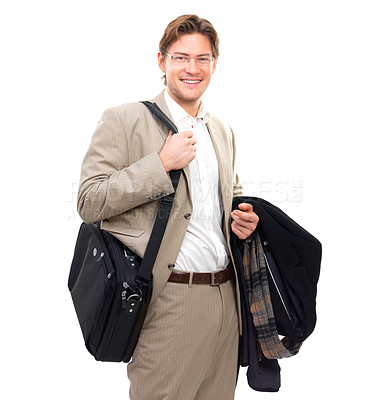 Buy stock photo Portrait of a happy businessman holding bag and coat