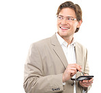 Businessman holding cellphone