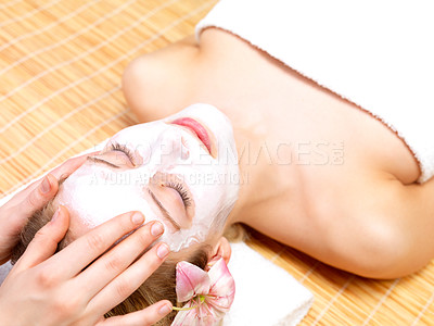 Buy stock photo Portrait of a beautiful woman at the spa getting head massage.
