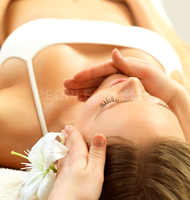 Buy stock photo Woman receiving a facial massage at the day spa