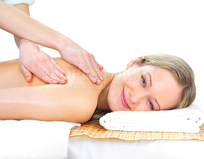 Buy stock photo Smiling woman getting a massage - hands massaging her back - A pretty woman getting a shoulder and back massage