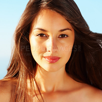 Buy stock photo Closeup of an attractive young girl