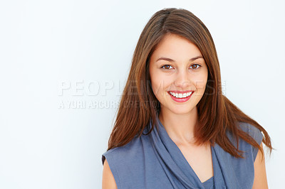 Buy stock photo Closeup of young woman giving you beautiful smile on white background