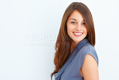 Buy stock photo Portrait of beautiful young woman smiling on white background