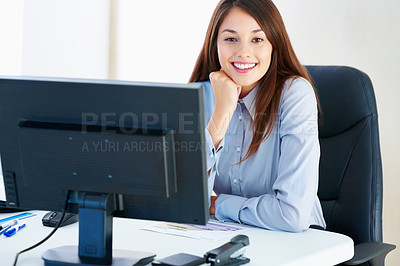 Buy stock photo Portrait of businesswoman sitting at table and giving you warm smile