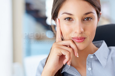 Buy stock photo Closeup of cute female executive sitting on an office chair