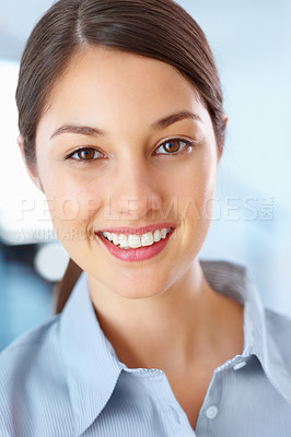 Buy stock photo Closeup of happy businesswoman giving you an attractive smile