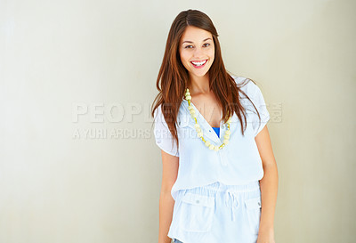 Buy stock photo Portrait of young beautiful woman giving you cute smile