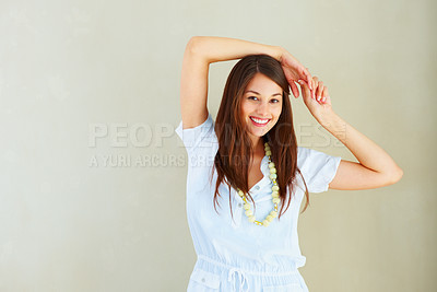 Buy stock photo Portrait of woman giving you an attractive smile