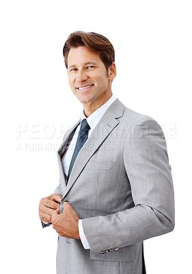 Buy stock photo Portrait of successful young businessman smiling isolated against white background