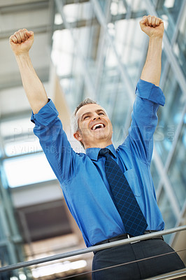 Buy stock photo Businessman throwing arms up in air in excitement