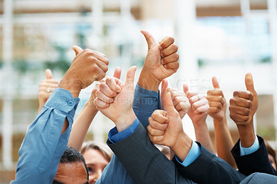 Buy stock photo Closeup of a group of thumbs up gesture