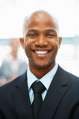 Buy stock photo Portrait of happy executive with people in background