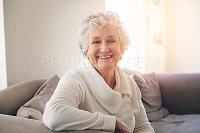 Buy stock photo Portrait of a senior woman relaxing at home