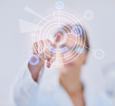 Buy stock photo Shot of a scientist using a digital interface while standing in a lab