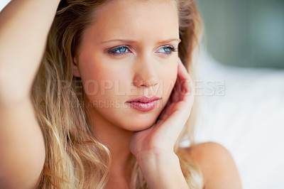 Buy stock photo Closeup portrait of a pretty young woman posing