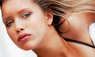 Buy stock photo Closeup shot of a pretty woman with natural make up