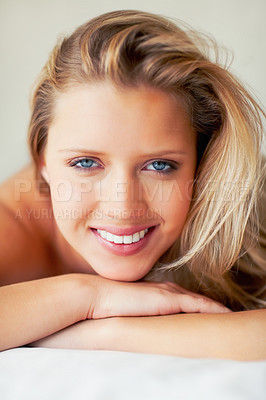 Buy stock photo Closeup of a beautiful sexy woman smiling with hands under chin
