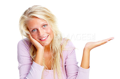 Buy stock photo Portrait of a smiling young female showing something on the palm of hand