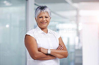 Buy stock photo Shot of a confident mature businesswoman posing in her office