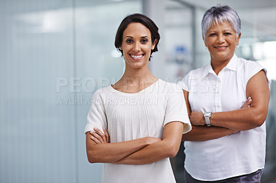 Buy stock photo Portrait of two businesswomen posing in their office together