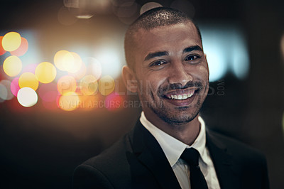 Buy stock photo Shot of a businessperson working late