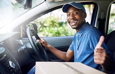 Buy stock photo Portrait of a young postal working pulling thumbs up while sitting in his car during a delivery