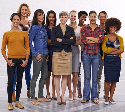 Buy stock photo Full length studio of a group of happy people standing as a group