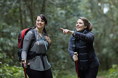 Buy stock photo Shot of two friends exploring the forest on a hike