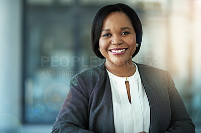 Buy stock photo Portrait of a confident businesswoman sitting in her office