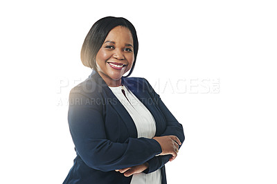 Buy stock photo Studio portrait of a confident businesswoman posing against a white background