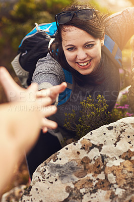 Buy stock photo Shot of a young woman out mountain climbing