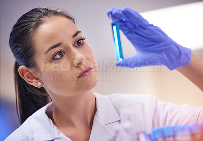 Buy stock photo Shot of a young scientist examining liquid in a test tube in a laboratory
