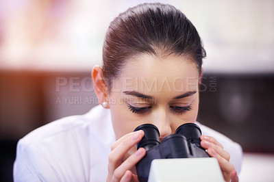 Buy stock photo Shot of a young scientist using a microscope in a laboratory