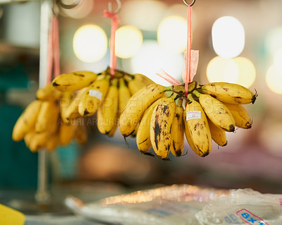 Buy stock photo Shot of bunches of bananas hanging from strings at a food market