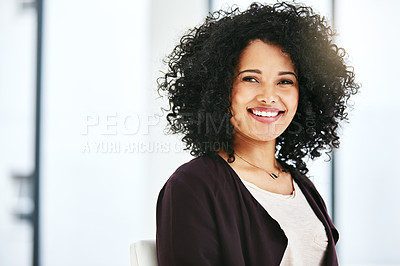 Buy stock photo Portrait of a confident young woman working in a modern office