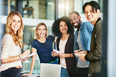 Buy stock photo Portrait of a group of happy colleagues having a meeting at work