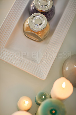Buy stock photo High angle shot of various pampering essentials in a spa