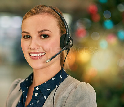 Buy stock photo Portrait of an attractive young woman wearing a headset in the office